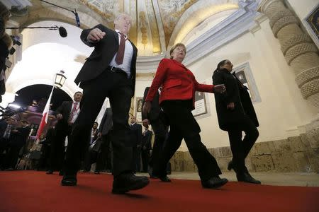 German Chancellor Angela Merkel leaves at the end of the European Union leaders summit in Valletta, Malta, February 3, 2017.   REUTERS/Yves Herman