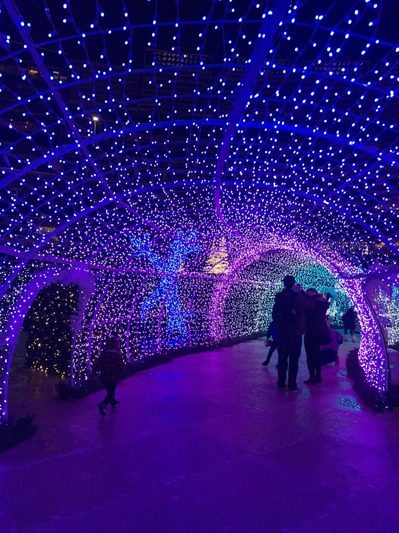 Inside the light tunnel at Enchant Christmas in Washington, D.C.
