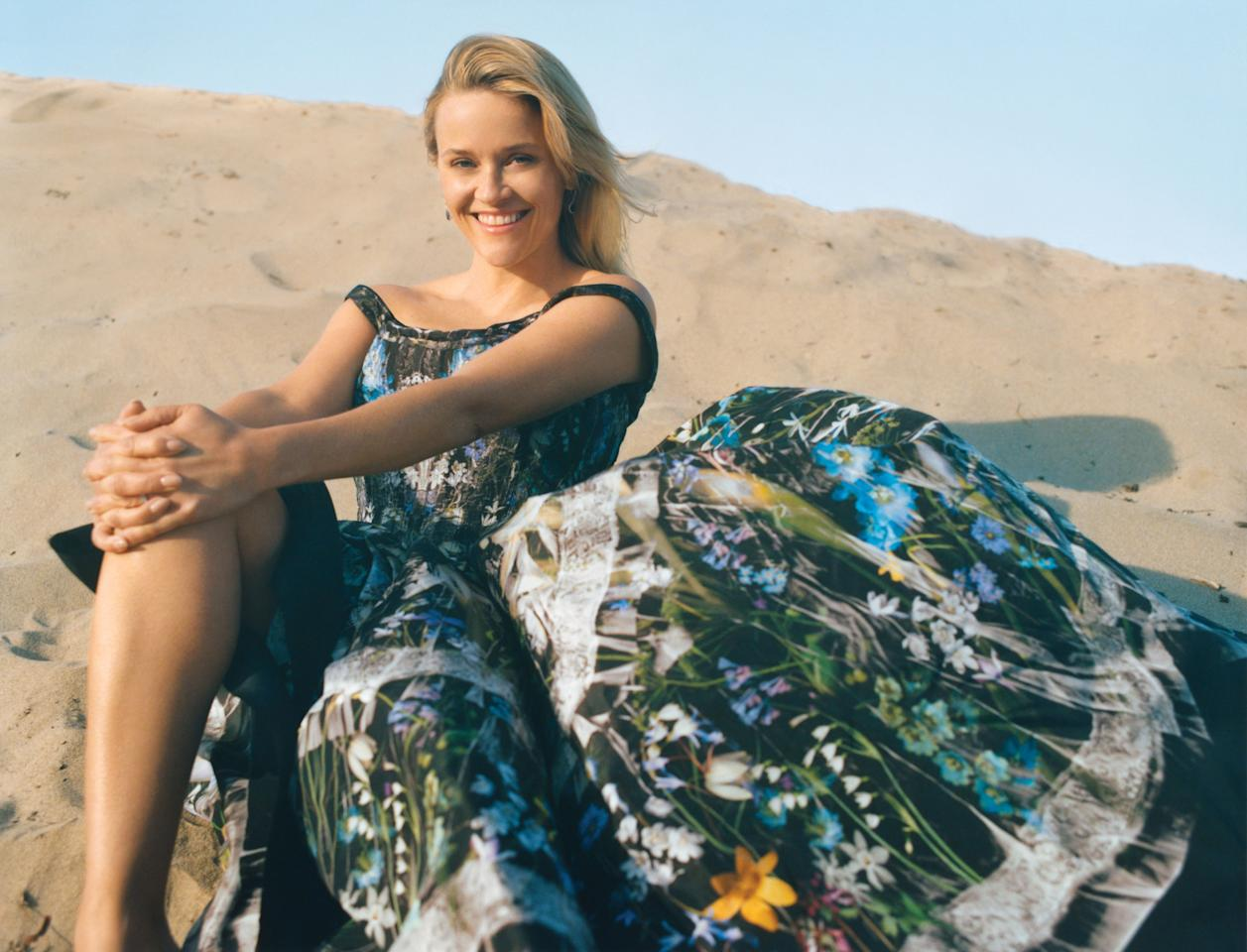 """Of her childhood in Tennessee, Witherspoon says, """"Ialways tended to be outspoken with my opinions. Whether they were appropriate or not."""" Alexander McQueen dress."""