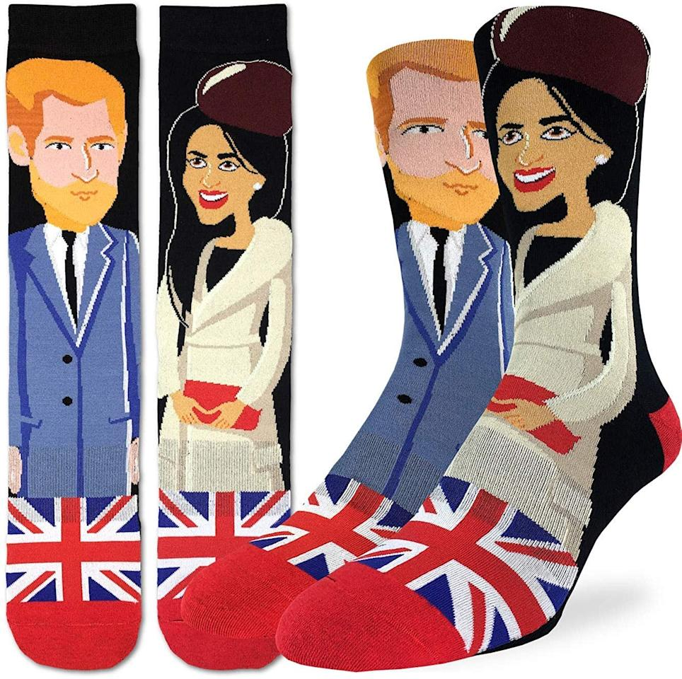 """<p>Make your love loud and clear with these <a href=""""https://www.popsugar.com/buy/Prince-Harry-Meghan-Markle-Socks-515751?p_name=Prince%20Harry%20and%20Meghan%20Markle%20Socks&retailer=amazon.com&pid=515751&price=14&evar1=savvy%3Aus&evar9=45512500&evar98=https%3A%2F%2Fwww.popsugar.com%2Fphoto-gallery%2F45512500%2Fimage%2F46896030%2FPrince-Harry-Meghan-Markle-Socks&list1=gifts%2Choliday%2Cstocking%20stuffers%2Cchristmas%2Cgift%20guide%2Cgifts%20under%20%2425%2Cgifts%20for%20women%2Cgifts%20for%20men%2Cgifts%20under%20%24100%2Cgifts%20under%20%2450%2Cgifts%20under%20%2475%2Caffordable%20shopping&prop13=api&pdata=1"""" rel=""""nofollow"""" data-shoppable-link=""""1"""" target=""""_blank"""" class=""""ga-track"""" data-ga-category=""""Related"""" data-ga-label=""""https://www.amazon.com/Good-Luck-Sock-Prince-Meghan/dp/B07PW9XTBP/ref=asc_df_B07PW9XTBP/?tag=hyprod-20&amp;linkCode=df0&amp;hvadid=362853986399&amp;hvpos=1o1&amp;hvnetw=g&amp;hvrand=10404878550595101751&amp;hvpone=&amp;hvptwo=&amp;hvqmt=&amp;hvdev=c&amp;hvdvcmdl=&amp;hvlocint=&amp;hvlocphy=9031974&amp;hvtargid=pla-785585061588&amp;psc=1&amp;tag=&amp;ref=&amp;adgrpid=77294410998&amp;hvpone=&amp;hvptwo=&amp;hvadid=362853986399&amp;hvpos=1o1&amp;hvnetw=g&amp;hvrand=10404878550595101751&amp;hvqmt=&amp;hvdev=c&amp;hvdvcmdl=&amp;hvlocint=&amp;hvlocphy=9031974&amp;hvtargid=pla-785585061588"""" data-ga-action=""""In-Line Links"""">Prince Harry and Meghan Markle Socks</a> ($14).</p>"""
