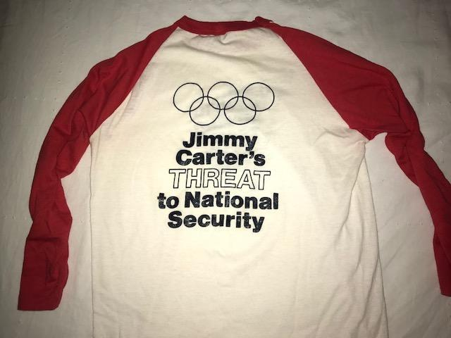 A shirt made by the rebellious 1980 U.S. women's rowing team and worn in Washington D.C. (Courtesy of Carol Brown)