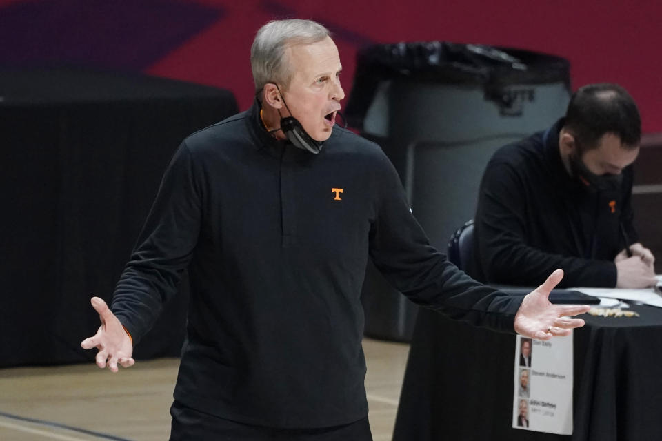 Tennessee head coach Rick Barnes reacts to a play by his team against Mississippi during the first half of an NCAA college basketball game in Oxford, Miss., Tuesday, Feb. 2, 2021. (AP Photo/Rogelio V. Solis)