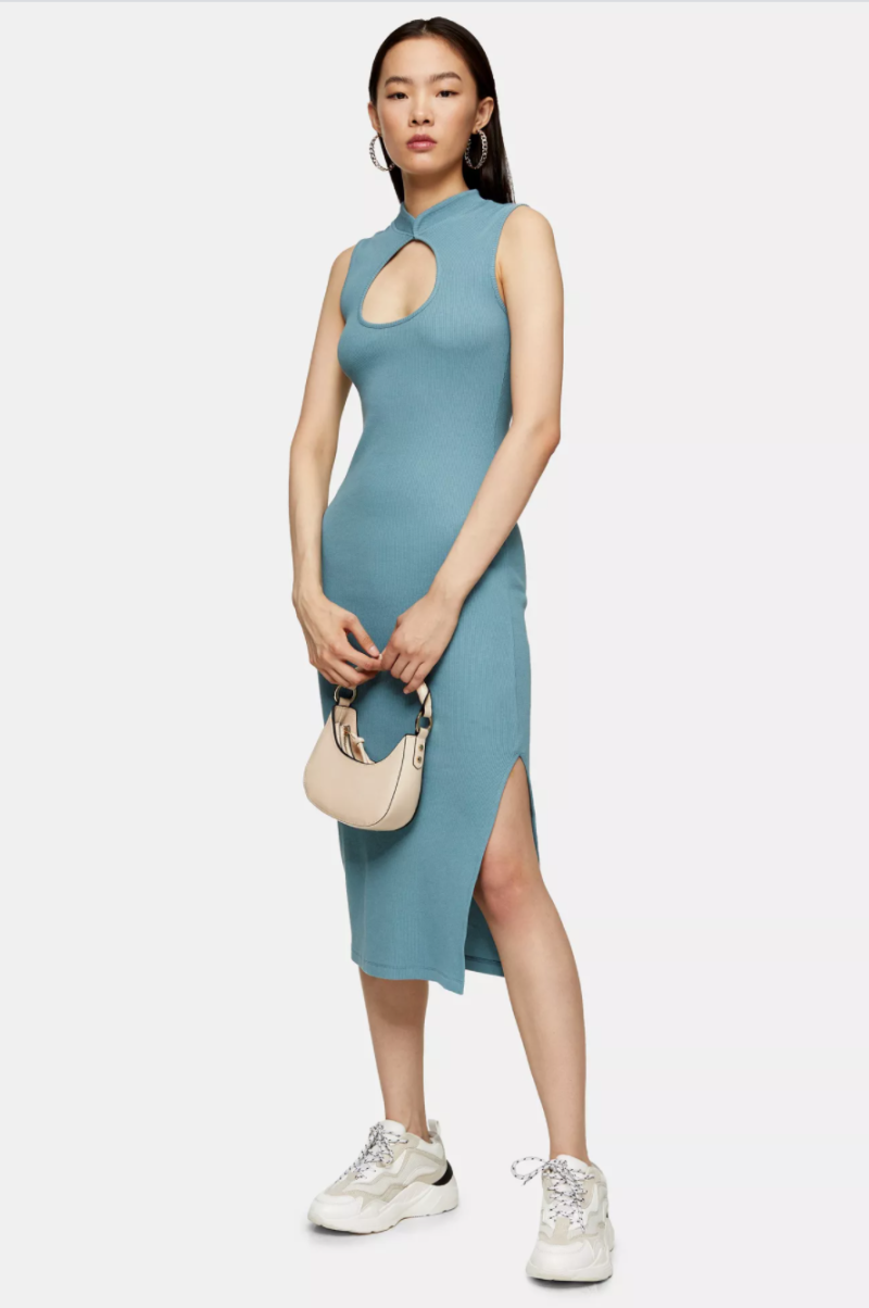 Blue Midi Cut Out Dress. Image via Topshop.