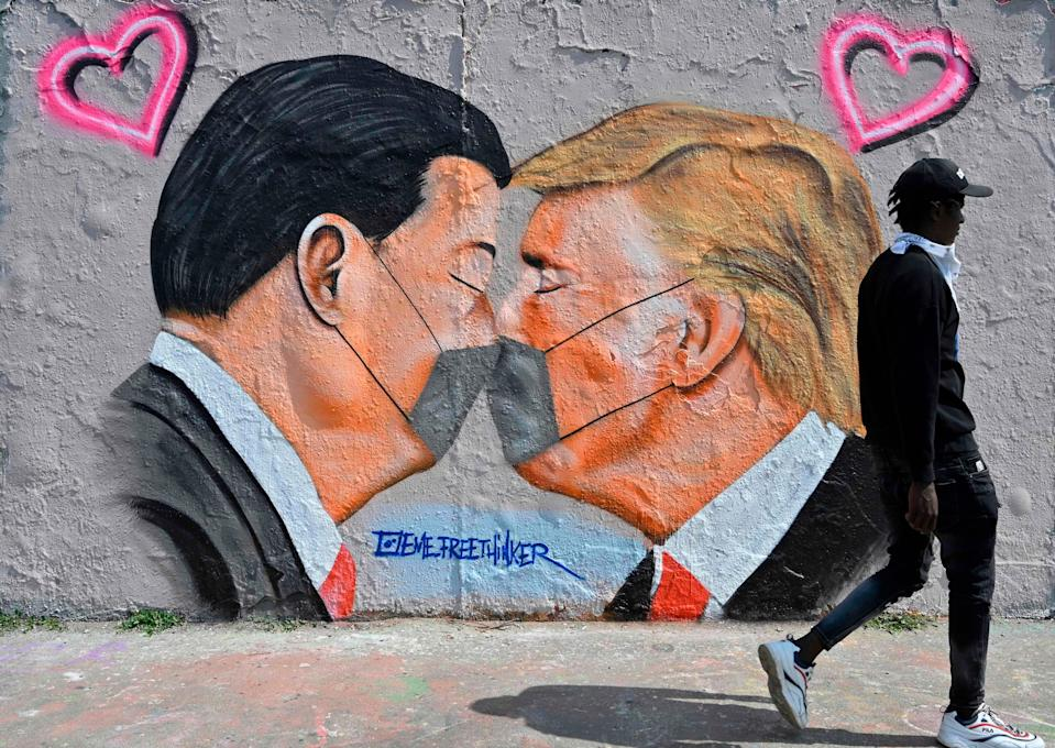 A mural painting in Berlin on April 28, 2020.