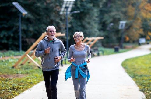 "<span class=""caption"">Repurposed drugs and senolytics could bring us five more years of disease-free life.</span> <span class=""attribution""><a class=""link rapid-noclick-resp"" href=""https://www.shutterstock.com/image-photo/aged-couple-jogging-public-park-smile-1798837510"" rel=""nofollow noopener"" target=""_blank"" data-ylk=""slk:Zoran Pucarevic/ Shutterstock"">Zoran Pucarevic/ Shutterstock</a></span>"