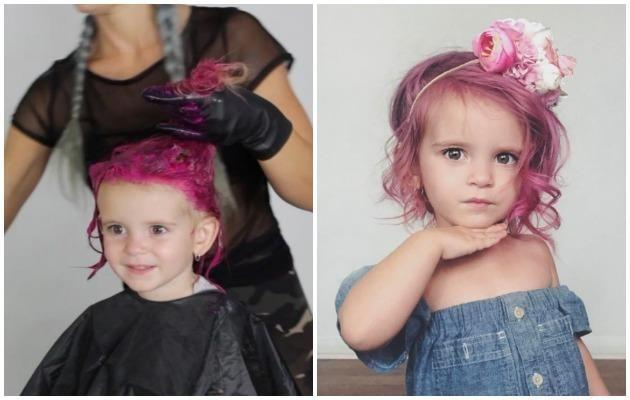 One mum has come under fire for dying her daughter's hair bright pink. Photo: Instagram