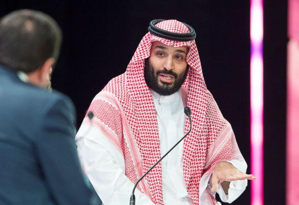 PHOTO: A handout picture provided by the Saudi Royal Palace on Oct. 24, 2018, shows Saudi Crown Prince Mohammed bin Salman speaking during a joint session of the Future Investment Initiative (FII) conference in the capital Riyadh. (Bandar Al-Jaloud/AFP/Getty Images, FILE)