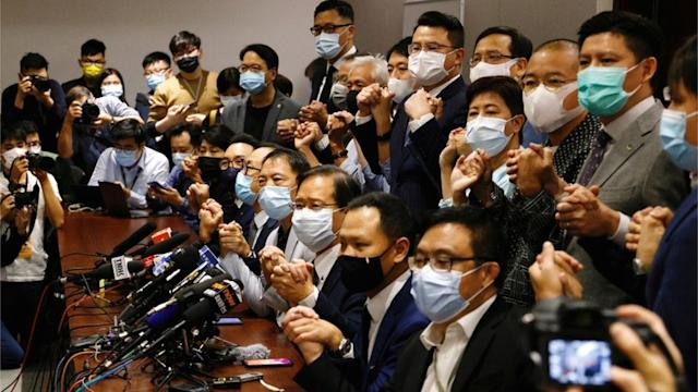 Opposition members during press conference