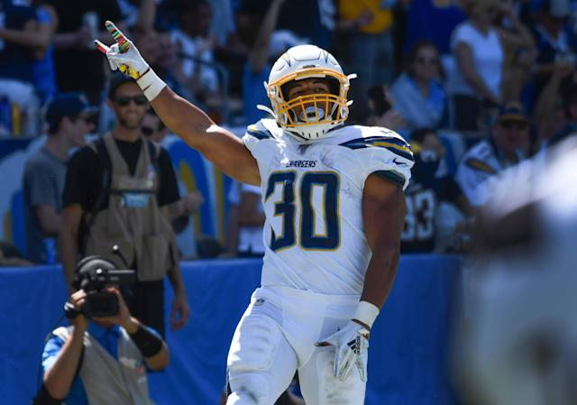 Austin Ekeler looks to be the man in LA (at least until you-know-who comes back). Mandatory Credit: Robert Hanashiro-USA TODAY Sports