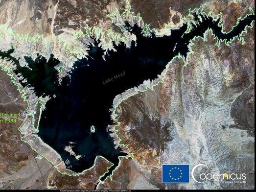 A satellite image captured by the Copernicus Sentinel-2 satellite of Lake Mead in Nevada, including an outline in green of the lake's level in 1984.  (Copernicus Sentinel-2 satellite)