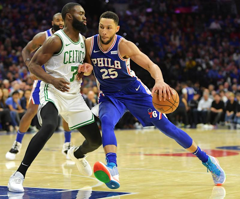 PHILADELPHIA, PA - OCTOBER 23: Ben Simmons #25 of the Philadelphia 76ers drives on Jaylen Brown #7 of the Boston Celtics at Wells Fargo Center on October 23, 2019 in Philadelphia, Pennsylvania. The 76ers won 107-93. NOTE TO USER: User expressly acknowledges and agrees that, by downloading and or using this photograph, User is consenting to the terms and conditions of the Getty Images License Agreement. (Photo by Drew Hallowell/Getty Images)