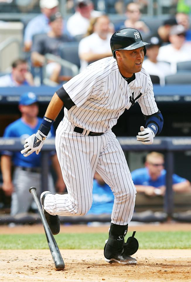 NEW YORK, NY - JULY 11: Derek Jeter #2 of the New York Yankees runs out his hit in the fifth inning against the Kansas City Royals on July11,2013 at Yankee Stadium in the Bronx borough of New York City. (Photo by Elsa/Getty Images)
