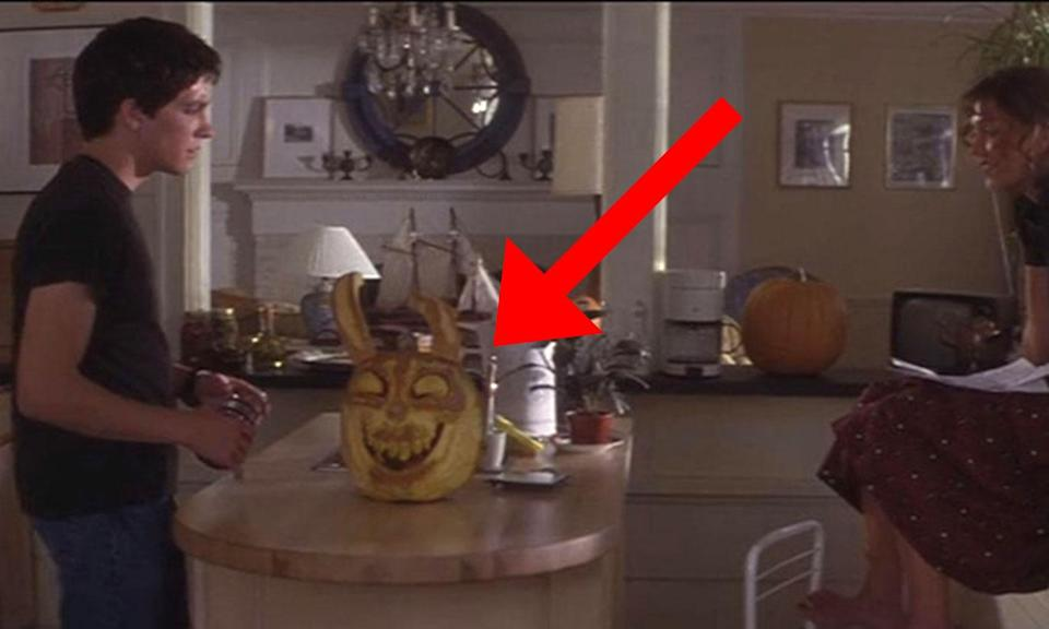 <p>In Richard Kelly's cult time travel mind-trip a pumpkin carved like Frank's creepy rabbit mask can be seen on the Darko's breakfast table. It's never referenced. </p>