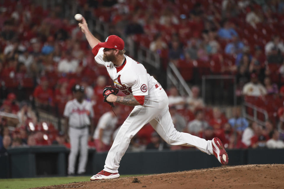 St. Louis Cardinals relief pitcher Justin Miller throws during the ninth inning of the team's baseball game against the Atlanta Braves on Tuesday, Aug. 3, 2021, in St. Louis. (AP Photo/Joe Puetz)