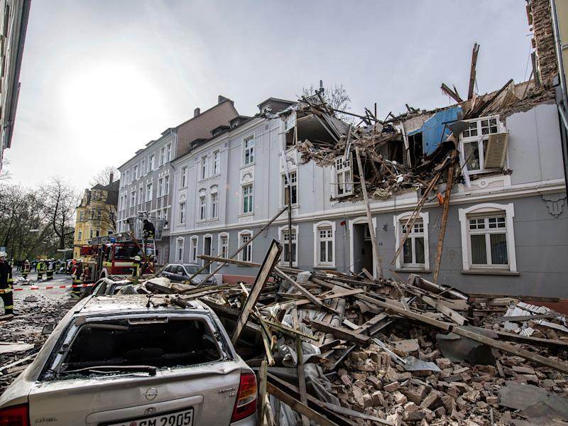 Debris sits on a street after an explosion in an apartment building in Dortmund: AP