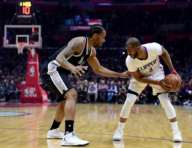 Chris Paul sizes up Kawhi Leonard, and considers his option. (Getty Images)