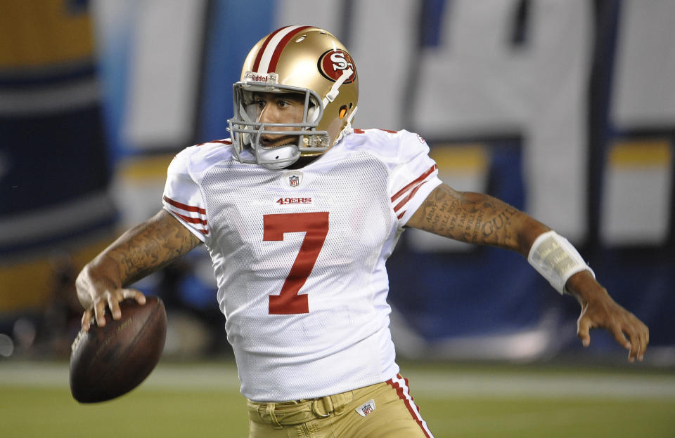 San Francisco 49ers quarterback Colin Kaepernick scrambles during the second half first of a NFL preseason football game against the San Diego Chargers Thursday, Sept. 1, 2011 in San Diego. (AP Photo/Denis Poroy)