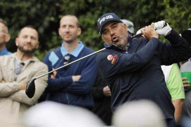 Angel Cabrera of Argentina hits off the 14th tee during the final day of practice for the 2018 Masters golf tournament at Augusta National Golf Club in Augusta, Georgia, U.S. April 4, 2018. REUTERS/Jonathan Ernst