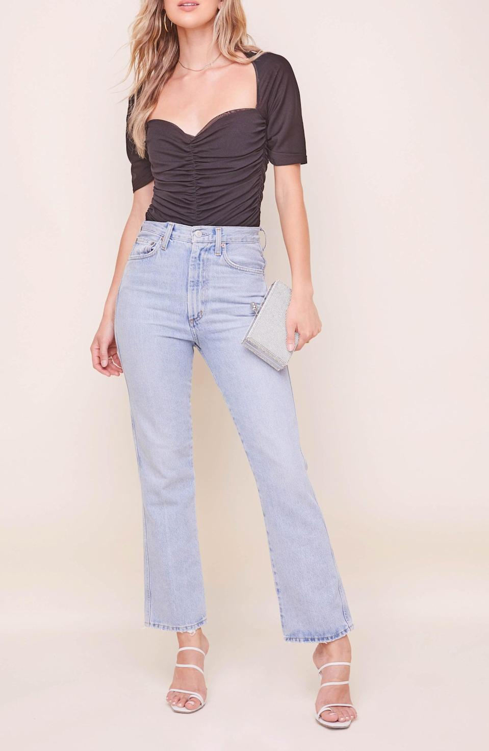 <p>This <span>ASTR the Label Zelda Ruched Bodysuit</span> ($110) will look just as good with jeans for daytime activities, as with croc leather pants for nights out.</p>