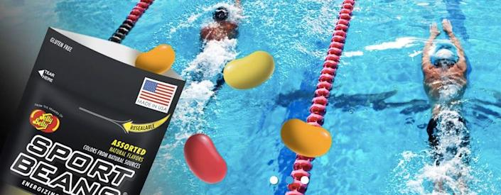 Jelly Belly advertises its Sport Bean on its website with images of athletes. (Photo: Jelly Belly)