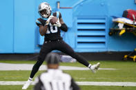 Carolina Panthers wide receiver Curtis Samuel catches a touchdown pass against the Detroit Lions during the second half of an NFL football game Sunday, Nov. 22, 2020, in Charlotte, N.C. (AP Photo/Brian Blanco)