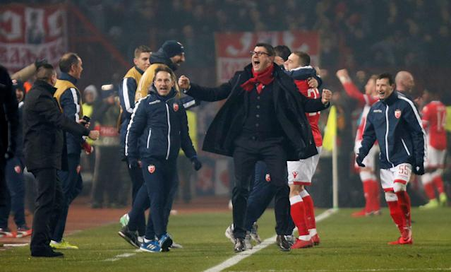 Soccer Football - Europa League - Red Star Belgrade vs FC Cologne - Rajko Mitic Stadium, Belgrade, Serbia - December 7, 2017 Red Star Belgrade coach Vladan Milojevic celebrates at the end of the match REUTERS/Novak Djurovic