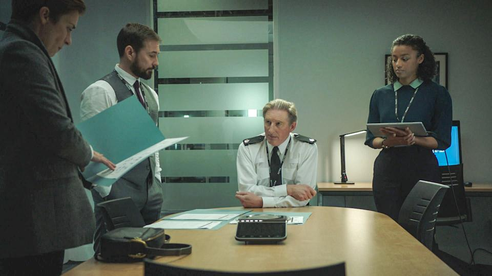 WARNING: Embargoed for publication until 00:00:01 on 13/04/2021 - Programme Name: Line of Duty S6 - TX: n/a - Episode: Line Of Duty - Ep 5 (No. n/a) - Picture Shows:  DI Kate Fleming (VICKY MCCLURE), Superintendent Ted Hastings (ADRIAN DUNBAR), DI Steve Arnott (MARTIN COMPSTON), DC Chloe Bishop (SHALOM BRUNE-FRANKLIN) - (C) World Productions - Photographer: Screen Grab