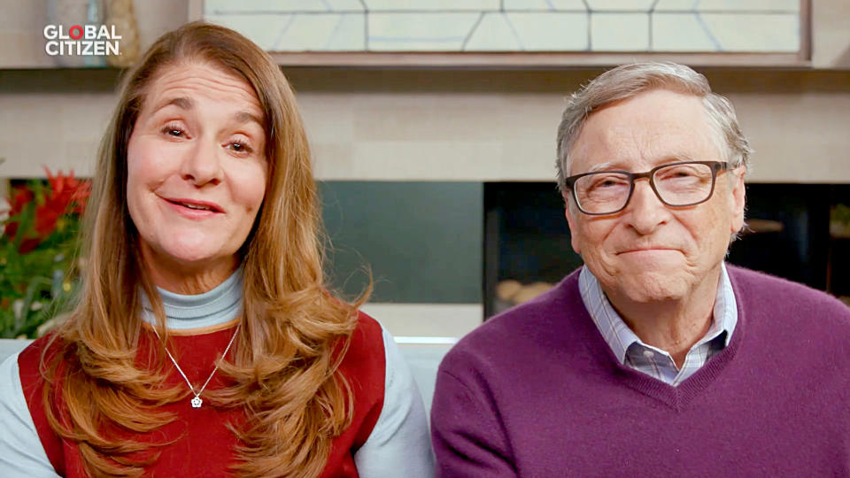 UNSPECIFIED LOCATION - APRIL 18: In this screengrab, (L-R) Melinda Gates and Bill Gates speak during