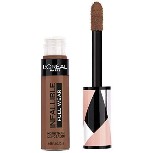 """<p>This waterproof <span>L'Oréal Paris Makeup Infallible Full Wear Concealer</span> ($11) won't fade all day long.</p> <p><strong>Customer Review:</strong> """"I have tried many concealers during my lifetime and so far this L'Oreal Infallible Full Wear Concealer has provided me with the best coverage and stayed with me for the full duration of my work day without issues. I especially like that the concealer tube comes with a sponge tipped applicator instead of in a squeeze tube because the applicator gives me the ability to apply a controlled amount. I use as much or as little as I need to take care of the situation.""""</p>"""