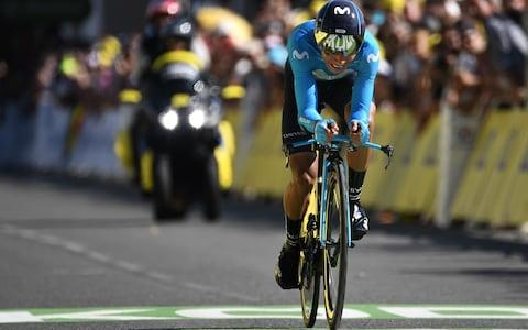 <span>Nairo Quintana completes his time trial in Pau on Friday afternoon</span> <span>Credit: GETTY IMAGES </span>