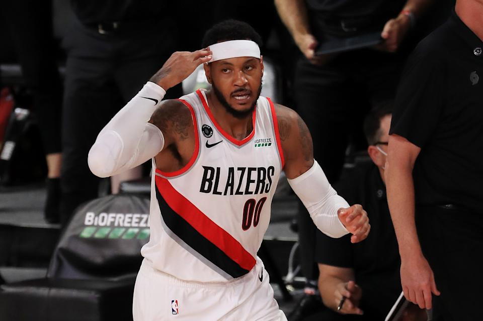 The Portland Trail Blazers have given Carmelo Anthony another chance at basketball immortality. (Mike Ehrmann/Getty Images)