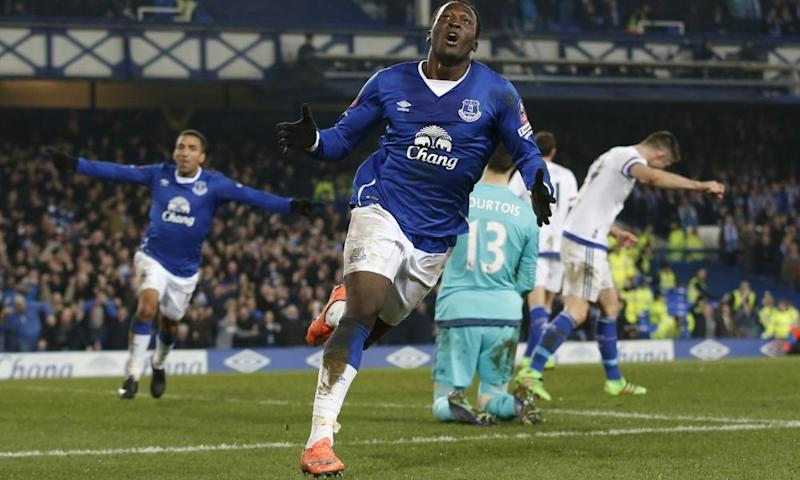 Everton's Romelu Lukaku celebrates scoring his first goal in the 2-0 FA Cup quarter-final win over Chelsea last season.