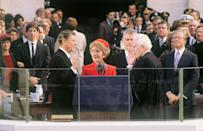 <p>At Ronald Reagan's inauguration, the President took the oath of office as Nancy held the Bible. </p>