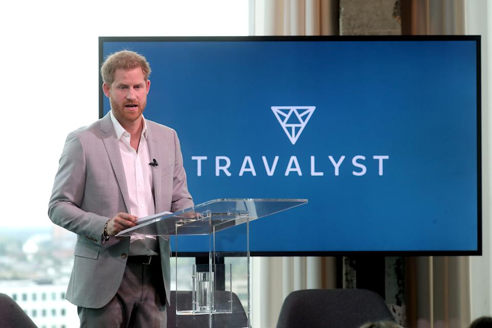 AMSTERDAM, NETHERLANDS - SEPTEMBER 03: Prince Harry, Duke of Sussex announces a partnership between Booking.com, SkyScanner, CTrip, TripAdvisor and Visa called 'Travalyst' at A'dam Tower on September 03, 2019 in Amsterdam, Netherlands. The initiative is to help transform the travel industry to better protect tourist destinations. (Photo by Chris Jackson/Getty Images)