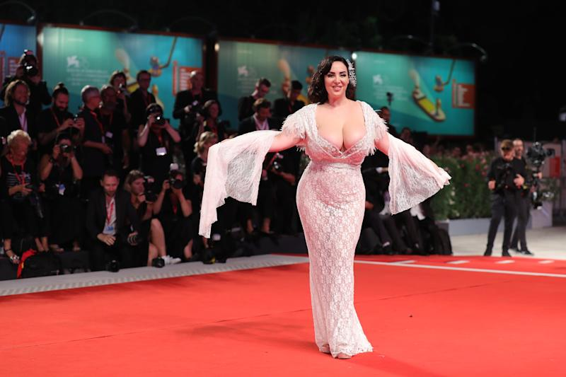 "VENICE, ITALY - AUGUST 29: Francesca Giuliano walks the red carpet ahead of the ""Ad Astra"" screening during during the 76th Venice Film Festival at Sala Grande on August 29, 2019 in Venice, Italy. (Photo by Vittorio Zunino Celotto/Getty Images)"