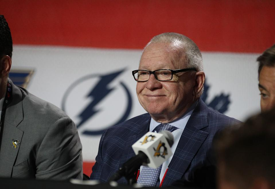 CHICAGO, IL - JUNE 24:  General manager Jim Rutherford of the Pittsburgh Penguins looks on during the 2017 NHL Draft at United Center on June 24, 2017 in Chicago, Illinois.  (Photo by Dave Sandford/NHLI via Getty Images)