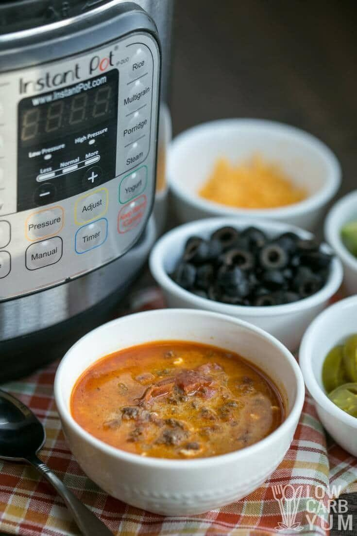 """<p>All the flavor of tacos, without any carb-heavy tortillas.</p><p>Get the recipe from <a href=""""https://lowcarbyum.com/instant-pot-low-carb-taco-soup/"""" rel=""""nofollow noopener"""" target=""""_blank"""" data-ylk=""""slk:Low Carb Yum"""" class=""""link rapid-noclick-resp"""">Low Carb Yum</a>.</p>"""