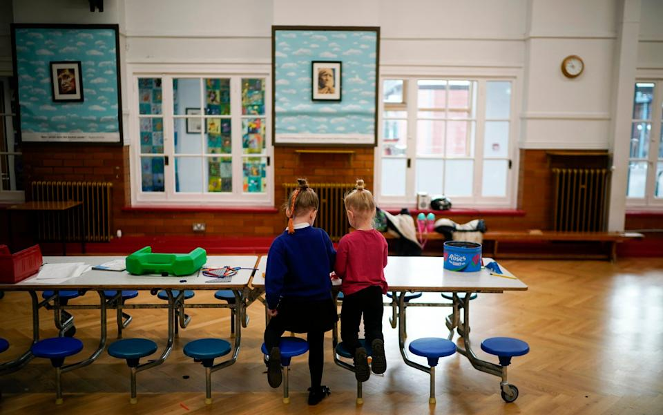 Children of key workers take part in school activities at Oldfield Brow Primary School on April 08, 2020 in Altrincham, England. - Christopher Furlong/Getty Images