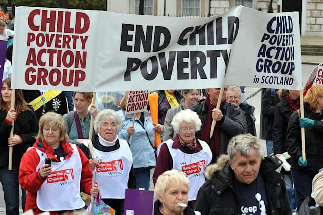 Demonstration to raise awareness of child poverty