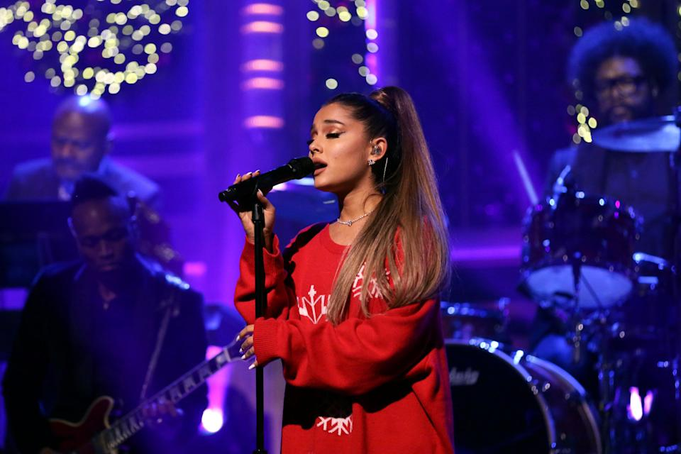 """Ariana Grande performs on """"The Tonight Show"""" on Dec. 18. As in the real world, women inthe music industry are expected to have sex appeal, whereas men just have tosing. (Photo: NBC via Getty Images)"""