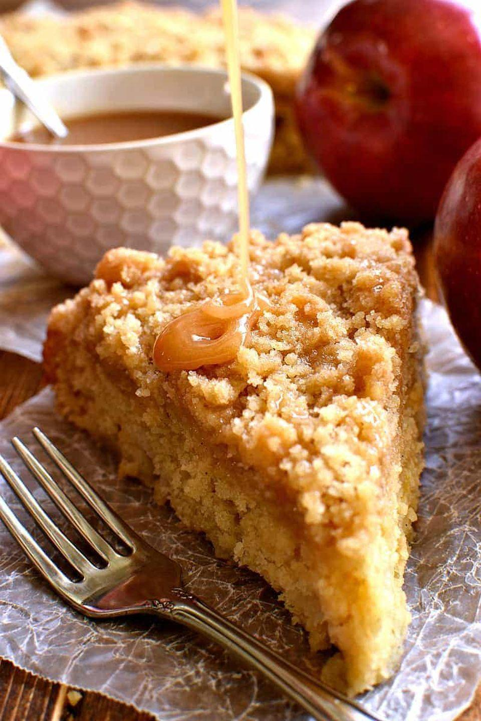 "<p>How to make coffee cake even better? Mixing in fresh apples, sweet caramel, and a crumbly streusel.</p><p><strong>Get the recipe at <a href=""https://www.lemontreedwelling.com/caramel-apple-coffee-cake/"" rel=""nofollow noopener"" target=""_blank"" data-ylk=""slk:Lemon Tree Dwelling"" class=""link rapid-noclick-resp"">Lemon Tree Dwelling</a>.</strong></p>"