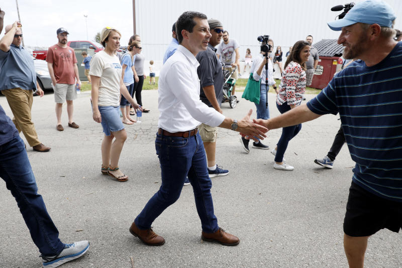 Democratic presidential candidate Pete Buttigieg arrives at the Hawkeye Area Labor Council Labor Day Picnic, Monday, Sept. 2, 2019, in Cedar Rapids, Iowa. (AP Photo/Charlie Neibergall)