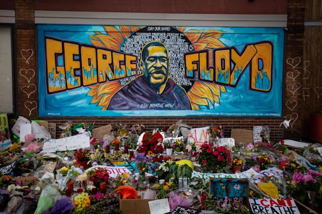 The makeshift memorial and mural outside Cup Foods where George Floyd died in police custody in Minneapolis. (Jason Armond / Los Angeles Times via Getty Images)