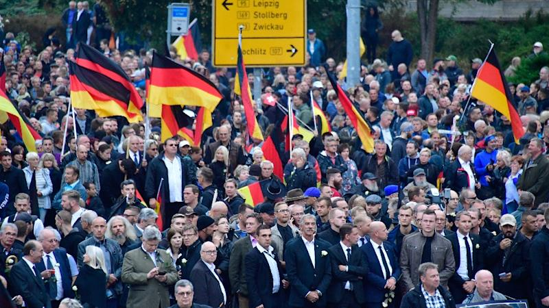 Far-right groups and thousands of local citizens took to the streets in the days after the stabbing of a German in the eastern city of Chemnitz (AFP Photo/John MACDOUGALL)