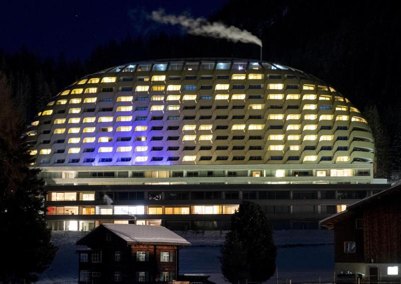 The hotel Intercontinental is photographed in Davos, Switzerland, Monday, Jan. 20, 2020. US President Donald Trump is due to stay at the hotel for one night during his two-days visit to the World Economic Forum. The World Economic Forum will start on Tuesday. (AP Photo/Michael Probst)