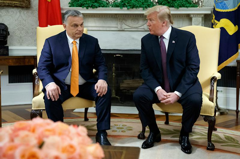 President Donald Trump meets with Hungarian Prime Minister Viktor Orbán in the Oval Office on Monday.