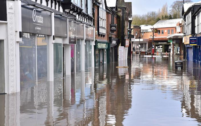 The centre of Northwich in Cheshire was under several inches of water - Nick Jones / SWNS