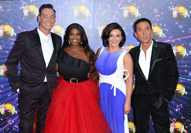 "LONDON, ENGLAND - AUGUST 26: (L-R) Craig Revel Horwood, Motsi Mabuse, Bruno Tonioli and Shirley Ballas attend the ""Strictly Come Dancing"" launch show red carpet arrivals at Television Centre on August 26, 2019 in London, England. (Photo by Karwai Tang/WireImage)"