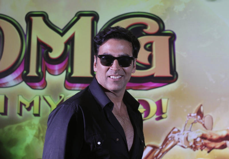 """Bollywood actor Akshay Kumar poses at a press conference to promote his upcoming movie """" OMG Oh My God"""" in Ahmadabad, India, Monday, Sept. 24, 2012. The film will be released on Sept. 28. (AP Photo/Ajit Solanki)"""