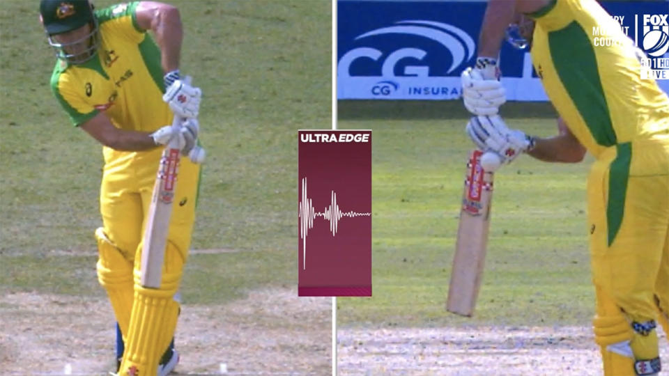 The DRS review, pictured here showing that Mitch Marsh had hit the ball.